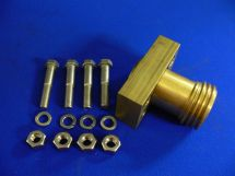 "Brazed Block 3 Pc.Fixed End Assembly Oxy 1.5"" Brass With SS Bolts"